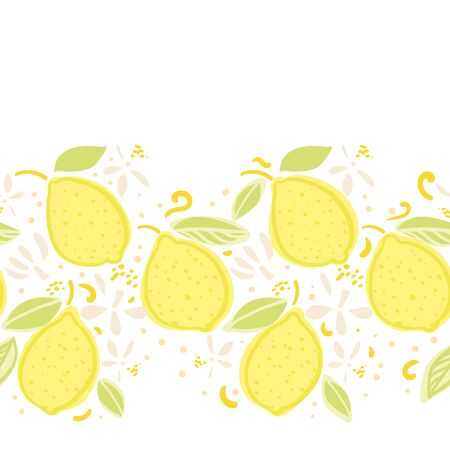 Vector summer lemon border. Tropical modern mediterranean repeating design. Hand drawn bright textured citrus fruit pattern with leaf and blossom on white background. Classy playful summer backdrop.