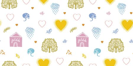 Vector doodle cozy cottage pattern, greeting card, kids, folk art, hygge design. Cut out modern pastel design on white background. Kids, baby, nursery.