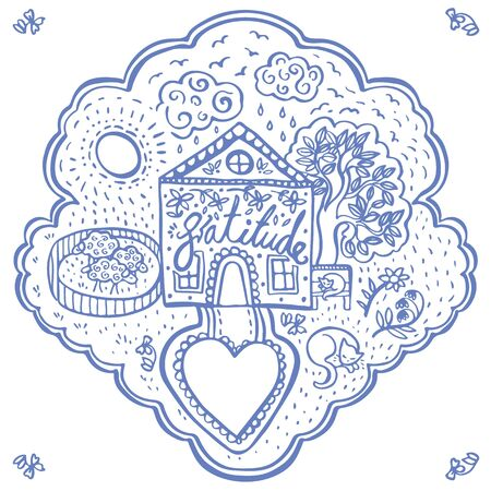 Vector doodle cozy cottage illustration set, greeting card, kids, folkart, hygge icon. Blue outline. Brush painted modern icon kit on white background isolated vector