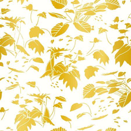 Modern exotic jungle leaf gold pattern. Tropical botanical leaf, cut out design on gold background. Elegant, classy seamless design.