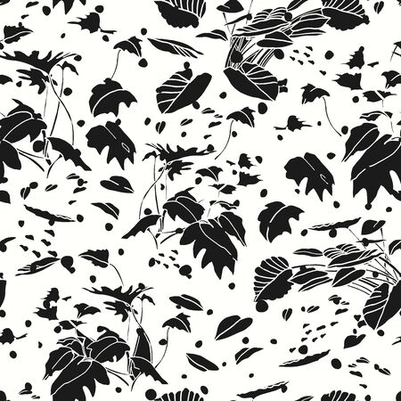 Modern exotic jungle leaf dot pattern. Tropical botanical leaf, cut out design on white dotted background. Elegant, classy seamless design.