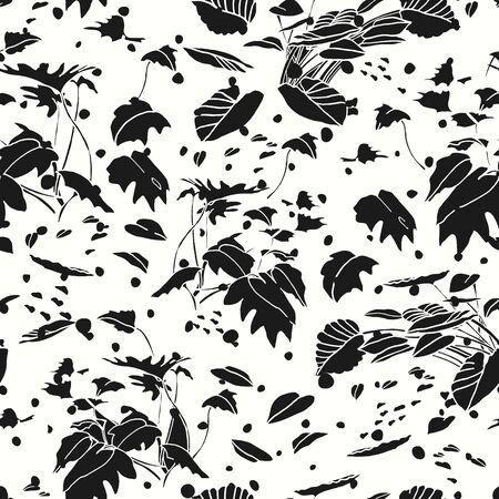 Modern exotic jungle leaf dot pattern. Tropical botanical leaf, cut out design on white dotted background. Elegant, classy seamless design.