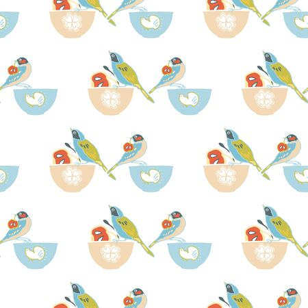 Vector geometric vintage kitchen bowl pattern, cute birds and bowl, trendy design on white background. Retro vintage. Seamless vector pattern. For fabric, wallpaper, giftwrap or postcard design 版權商用圖片 - 150155458
