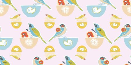Vector geometric vintage kitchen utensil pattern, cute birds and bowl, trendy design on pink background. Retro vintage. Seamless vector pattern. For fabric, wallpaper, giftwrap or postcard design