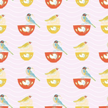 Vector geometric vintage kitchen utensil stripe pattern, cute birds and bowl, trendy design on pink background. Retro vintage. Seamless vector pattern. For fabric, wallpaper, giftwrap or postcard design
