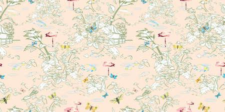 Etching style exotic jungle landscape pattern. Botanical leaf, line art style in pastel tones. Elegant historic voyager style. Packaging design, home decor, stationary. 免版税图像