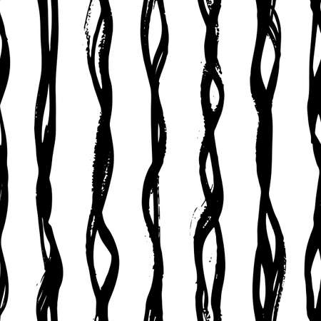 Abstract hand drawn brush pen wavy line pattern. Seamless irregular geometric vector vertical stripe on white background. Appropriate for modern products, packaging, graphic projects, concept design. Ilustração