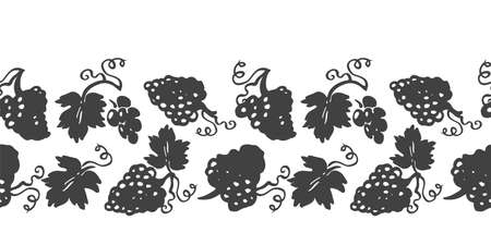 Vector lifestyle grape plant seamless horizontal border.  linocut, doodle style design. Food, packaging, surface design . Modern brush design on white background. Perfect for wine lovers.