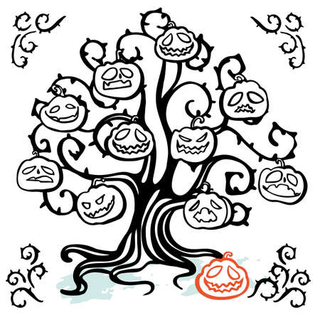Vector creepy halloween tree doodle illustration set, greeting card, hand lettering, cartoon style. Cute doodle line art style. Hand written modern brush lettering white background isolated vector element