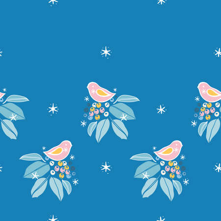 Vector horizontal botany winter berry bird border. Hand drawn folk art style design with bird, plant and snow flake in blue tones. All over print. Perfect for christmas season and winter holiday.