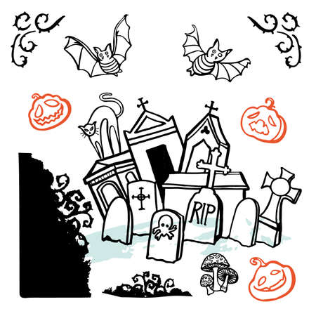 Vector creepy halloween graveyard doodle illustration set, greeting card, hand lettering, cartoon style. Cute doodle line art style. Hand written modern brush lettering white background isolated vector element Ilustração