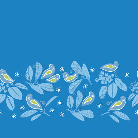 Vector botany winter berry bird border. Hand drawn folk art style design with bird, plant and snow flake in blue tones. All over print. Perfect for christmas season and winter holiday. Ilustração