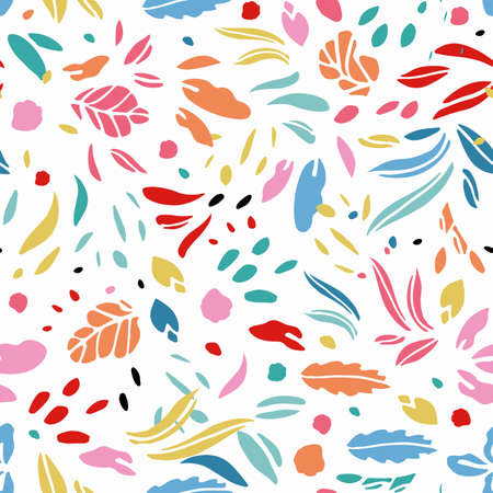 Modern abstract leaf shape summer pattern. Vector, colorful , floral design. Simple stylized leaf cut out on cream colored background. Happy, fun all over pattern. Perfect for stationery, print and gift wrap.