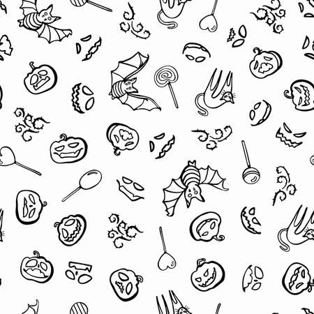 Vector doodle halloween candy pattern. Line art design. Food, packaging. Modern surface design. Perfect for your creepy party.