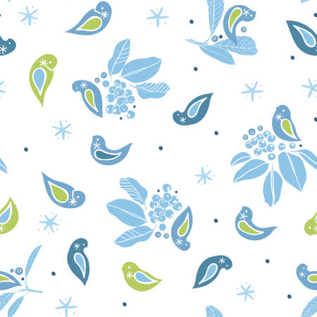 Vector cute winter berry bird pattern. folk art style design with bird, plant and snow flake in blue tones. All over print. Perfect for christmas season and winter holiday. Ilustração