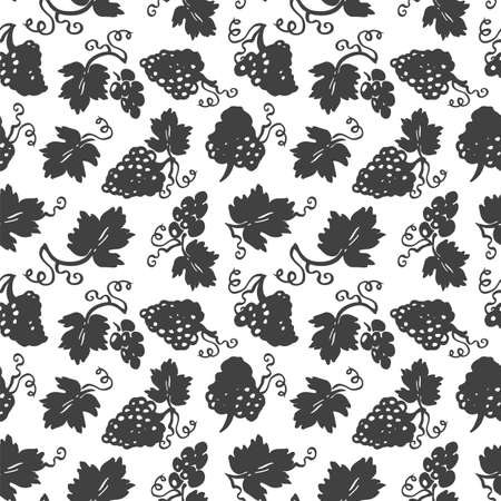 Vector lifestyle grape plant seamless horizontal border.  linocut, doodle style design. Food, packaging, surface design . Modern  design on white background. Perfect for wine lovers. Ilustração