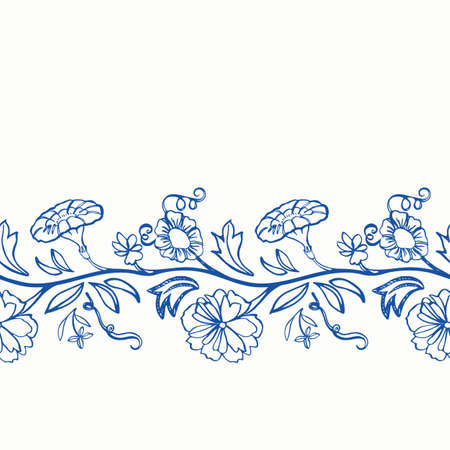 Blue retro antique porcelain floral border. Vintage kitchen,  botany flower garland design. Line art florals on white background. Elegant nature background. Perefect for kitchen utensils, textile and home decor. Ilustração