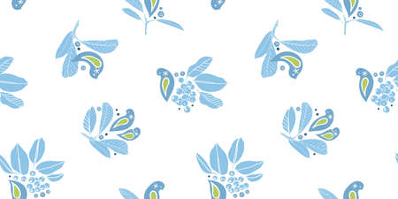 Vector cute hand drawn winter berry bird pattern. Simple folk art style design with bird, plant and snow flake in blue tones. All over print. Perfect for christmas season and winter holiday. Ilustração