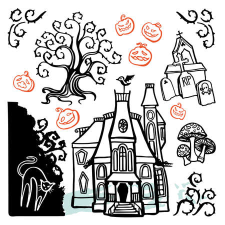 Vector creepy halloween hounted house doodle illustration kit. Cartoon style. Doodle fun style. Hand drawn modern brush painting on white background. Icon set.