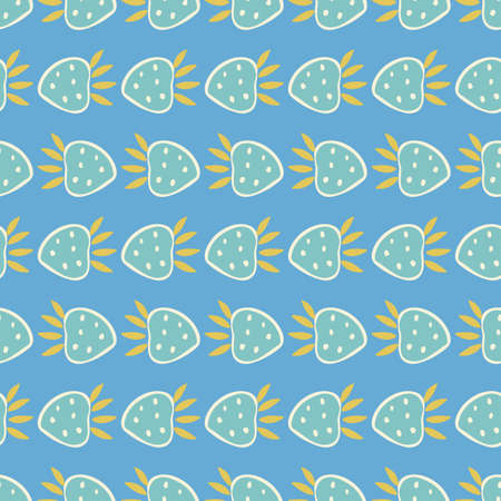 Geometric vintage kitchen strawberry pattern. Vector pastel hand drawn striped design. Stylized retro folk art berry garland. Summer berry in alignment. Colourful stylized plant, stripes on blue background. Perfect for stationery, print and gift wrap.