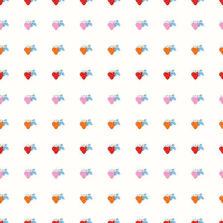 Geometric retro strawberry pattern. Vector vintage sweet berry in alignment. Color gradient. Colourful stylized berry on cream colored background. Cute, fun background. Perfect for stationery, print and gift wrap.