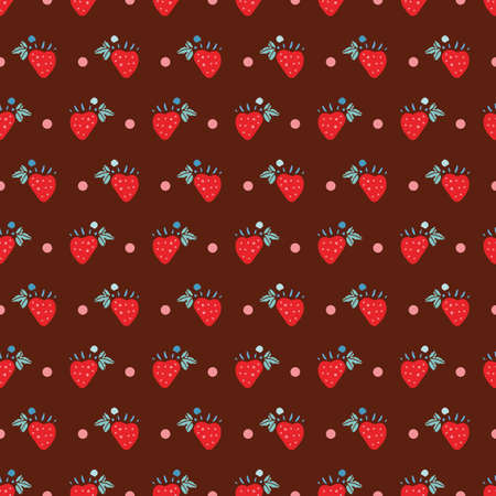 Geometric retro folk art strawberry pattern. Vector vintage sweet berry in alignment. Colourful 60s stylized florals, stripes on brown background. Cute, fun background. Perfect for stationery, print and gift wrap. 向量圖像