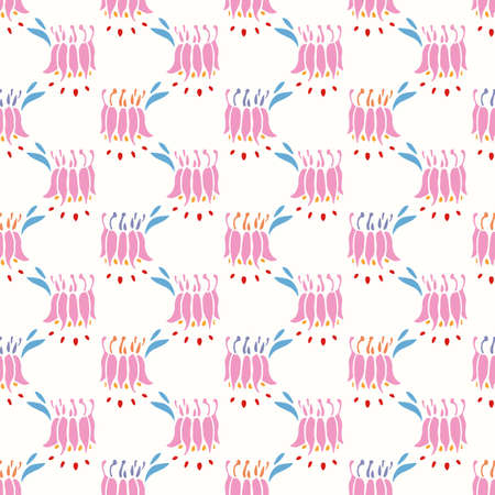 Geometric retro columbine flower pattern. Vector vintage pink florals in alignment. Pastel stylized flowerhead on cream colored background. Cute, girly background. Perfect for stationery, print and gift wrap. 向量圖像