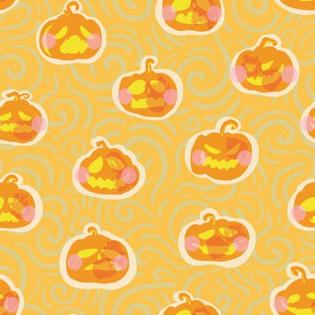 Vector cute kawaii halloween pumpkin seamless pattern. Hand drawn textured design. Food, packaging, surface design. Modern brush design. Perfect for your creepy girly party.