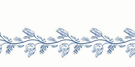 Blue retro antique porcelain floral border. Vintage kitchen, hand drawn botany tulip garland design. Line art florals on white background. Elegant nature background. Perefect for kitchen utensils, textile and home decor. Ilustração Vetorial