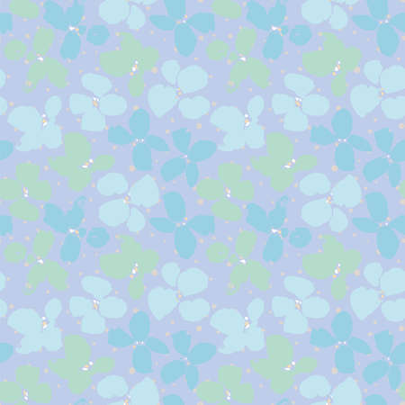 Vector seamless pattern with flowers in textured grunge style on dotted backgriound. Bold floral design in pastel tones. Vivid, hand drawn, in motion, modern brush design. Surface pattern design.