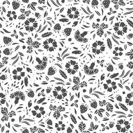 Retro folk art linocut style, wild rose pattern. Vintage embroidery style hand drawn floral design. Black stylized florals on white background. Elegant backdrop. Perfect for stationery, print, wedding, event.