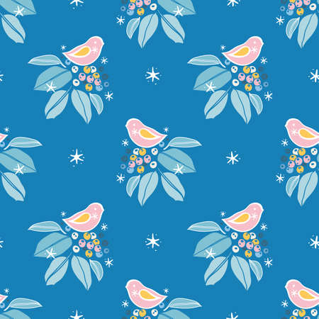 Vector botany winter berry pink bird pattern. Hand drawn folk art style design with bird, plant and snow flake in blue tones. All over print. Perfect for christmas season and winter holiday. Ilustracja