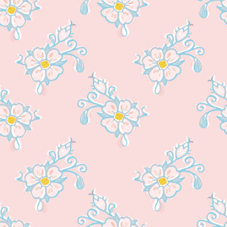Retro folk art wild rose pattern. Vector illustration. Vintage embroidery style rose, half drop pattern. Vintage kitchen, folk art, hand drawn floral design. Line art florals and cut out shapes on dusty pink background. Cute nature background. Perfect for kitchen ware, home decor and gift wrap.
