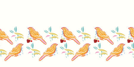 Geometric retro folk art bird boder. Vector vintage,linocut style, hand drawn, floral design with yellow bird. Colourful stylized border on cream colored background. Off color effect. Perfect for stationery, fabric and gift wrap.