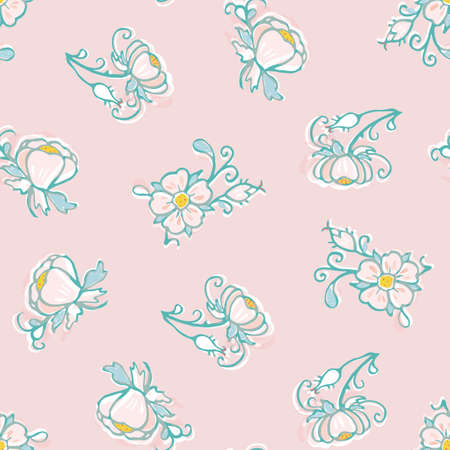 Retro folk art flower pattern. Vector illustration. Retro wild rose, all over pattern. Vintage kitchen, folk art, hand drawn floral design. Line art florals and cut out shapes on dusty pink background. Elegant nature background. Perfect for kitchen ware, wallpaper and gift wrap.