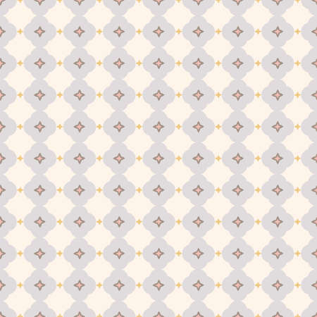 Vector geometric stylized floral tile pattern. Seamless vector design with simple ornament in pink and grey. Pastel cutout on neutral grey background. Perfect for paper projects, fabric and home decor. 向量圖像