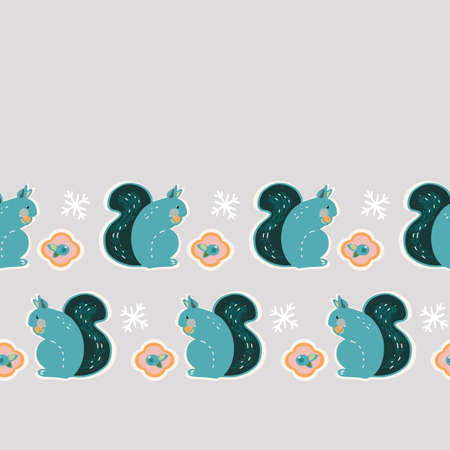 Vector geometric stylized winter squirrel border. Seamless cute scandinavian style seamless pattern with squirrel and berry on neutral grey background. Perfect for fabric, nursery and home decor.