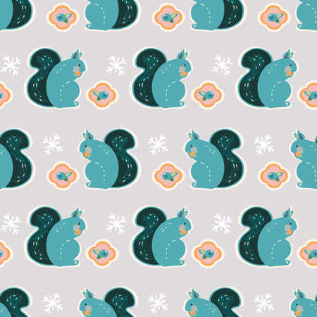 Vector cute geometric winter squirrel pattern. Seamless scandinavian style design with stylized squirrel and berry on neutral grey background. Perfect for fabric, nursery and home decor. Ilustracja