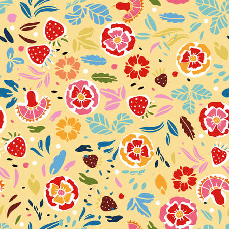Retro folk art wild rose pattern. Vintage embroidery style hand drawn floral design. Colourful stylized florals on cream colored background. Cute, fun background. Perfect for stationery, print and gift wrap. 向量圖像