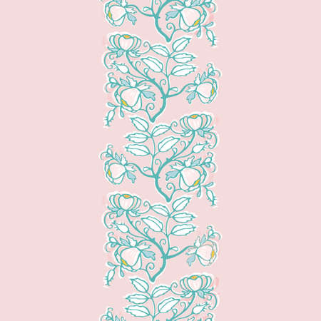 Retro folk art wild rose pattern. Vector illustration. Vintage embroidery style rose border. Vintage kitchen, folk art, hand drawn floral design. Line art florals and cut out shapes on dusty pink background. Cute nature background. Perfect for kitchen ware, home decor and gift wrap.