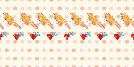 Geometric retro folk art dotted bird pattern. Vector vintage, embroidery style, hand drawn, floral design with yellow bird. Colourful stylized border on cream colored background. Cute dotted background. Perfect for stationery, fabric and gift wrap.