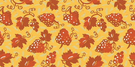 Vector textured grapevine seamless pattern. Hand drawn linocut, doodle style design. Food, packaging, surface design . Modern brush design. Perfect for wine lovers. 向量圖像