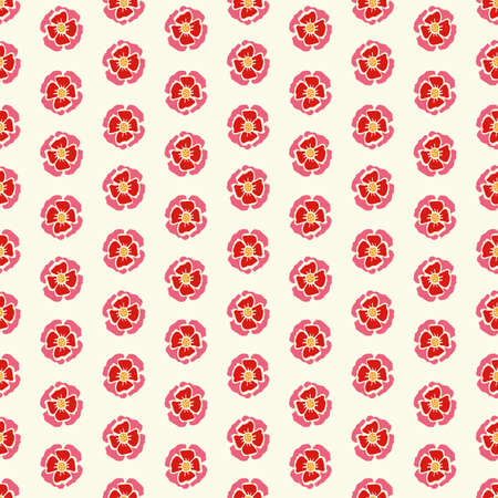 Geometric retro folk art rose pattern. Vector vintage rose in alignment. Colourful stylized florals, stripes on cream colored background. Cute, fun background. Perfect for stationery, print and gift wrap. Ilustrace