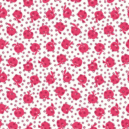 Vector vintage apple dotted seamless pattern. Simple hand drawn doodle style design. Food, packaging, surface design . Modern brush design. Perfect for 60s lovers.