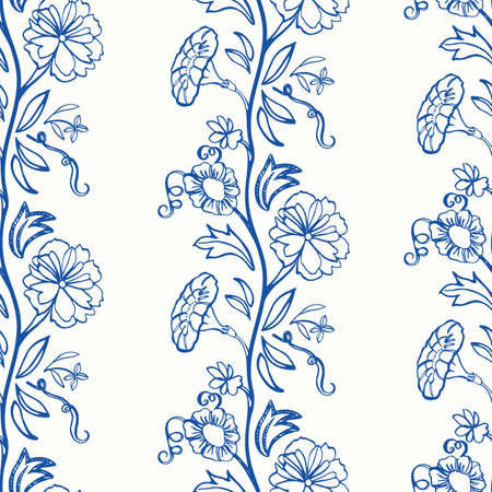 Vintage floral classic blue border. Vintage kitchen hand drawn floral bouquet design. Line art florals, flower garland, on white background. Elegant nature background. Perefect for kitchen ware, wallpaper and gift wrap.