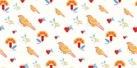 Retro folk art floral bird pattern. Vector vintage, embroidery style, hand drawn, floral design with yellow bird. Colourful stylized florals on cream colored background. Cute, fun background. Perfect for stationery, fabric and gift wrap. 向量圖像