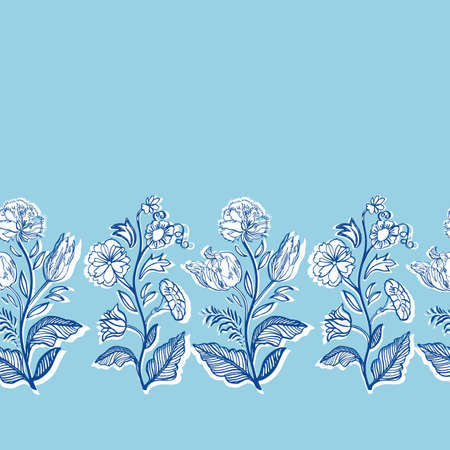 Blue retro antique floral botany border. Vintage kitchen, hand drawn floral bouquet design. Line art florals on cut out shape, blue background. Elegant nature background. Perefect for kitchen ware, wallpaper and gift wrap.