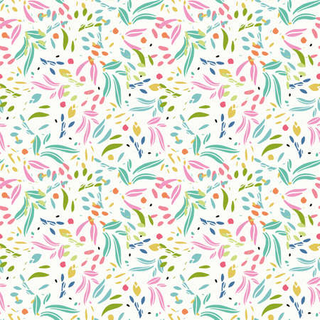 Simple abstract leaf shape summer pattern. Vector, colorful, hand drawn, floral design. Modern stylized leaf cut out on cream colored background. Happy, fun all over pattern. Perfect for stationery, print and home decor.