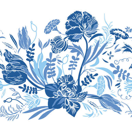 Vector classic vintage porcelain blue royal hand drawn elegant floral seamless border with line art and cutout florals on white background. Nature background. Surface pattern design.