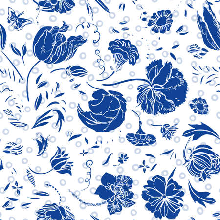 Vector royal blue baroque elegant lino cut floral seamless pattern with hand drawn historic florals on white dotted background. Nature background. Surface pattern design.